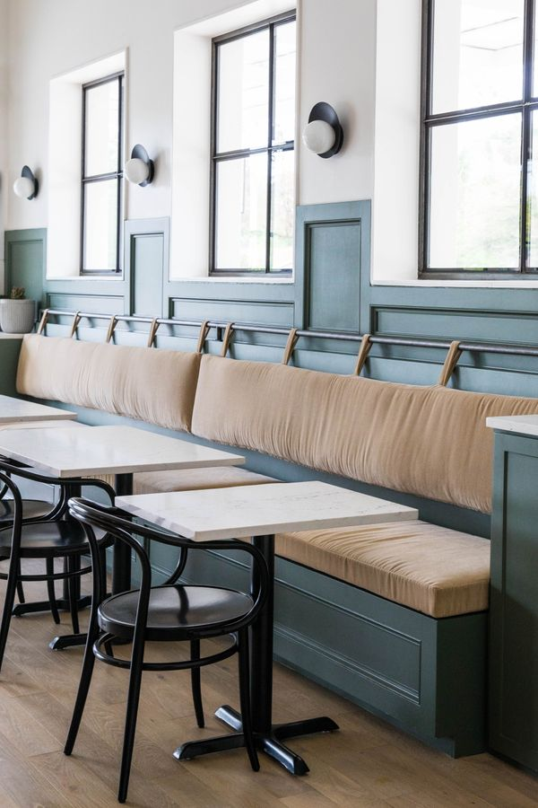 Banquet Seating With Leather Back Rest With Straps And A Rod Two Toned Green And Banquette Seating Restaurant Restaurant Seating Banquette Seating In Kitchen Leather benches with backs