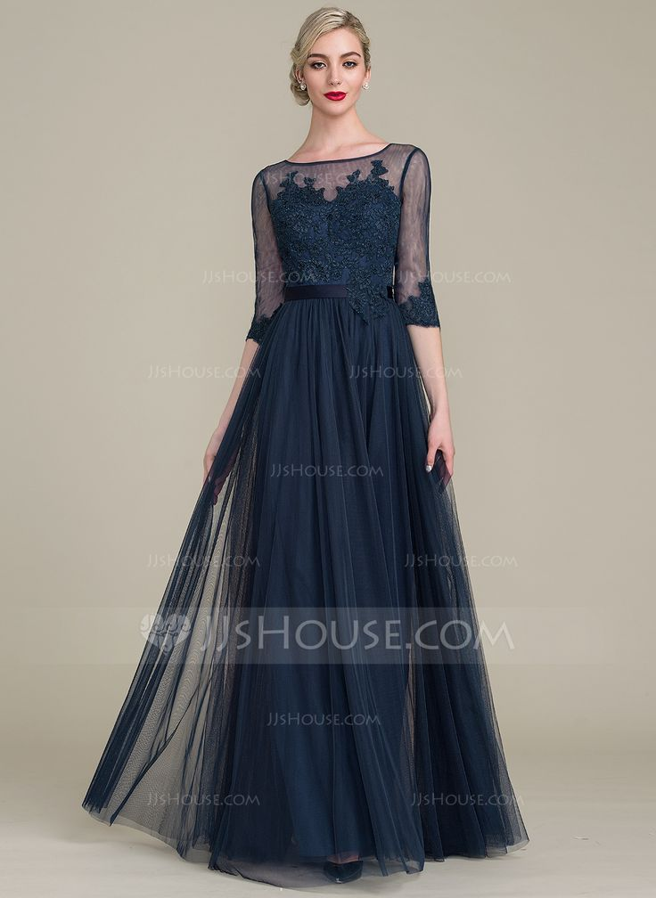 [ A-Line/Princess Scoop Neck Floor-Length Tulle Lace Mother of the Bride  Dress