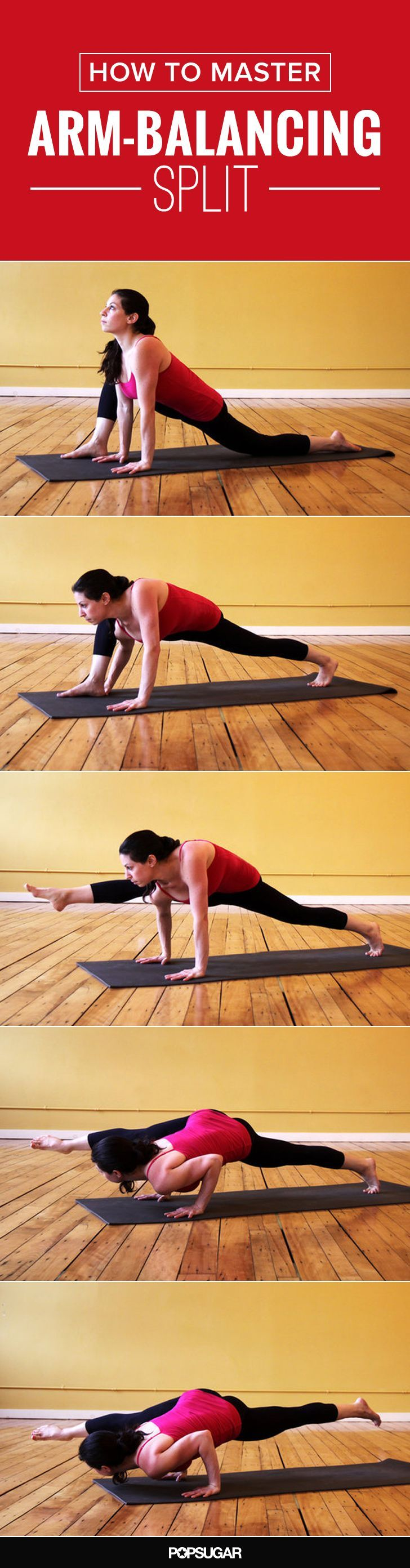 We break down how to  master the arm-balancing split. One of the poses that you can work toward in your yoga practice.