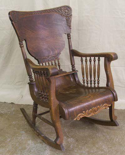 Antique oak rocking chairs | 5204: Antique Tiger Oak Rocking Chair : Lot 5204