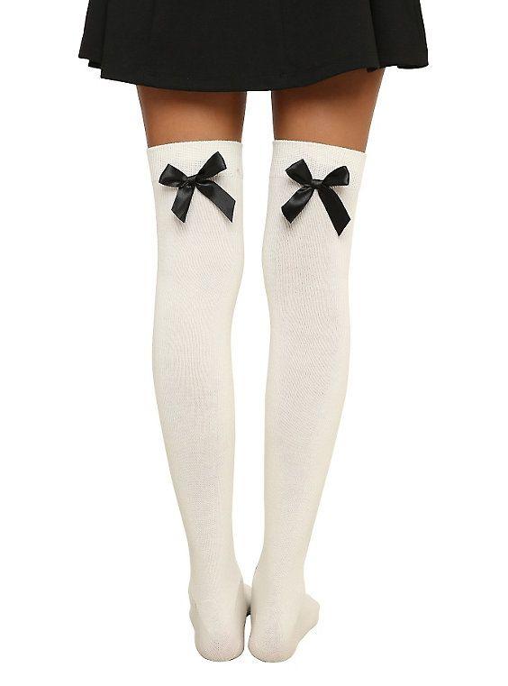 Cream Bow Over-The-Knee Socks,