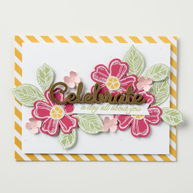 We just love the new set, Birthday Blossoms. This celebrate card is just so pretty!