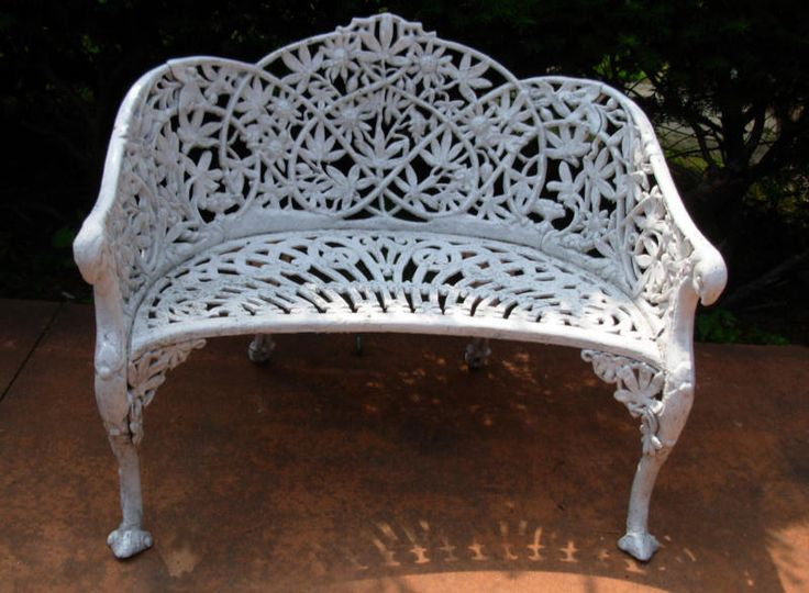 Bench, Antique Passion Flower Outdoor Cast Iron Part 59