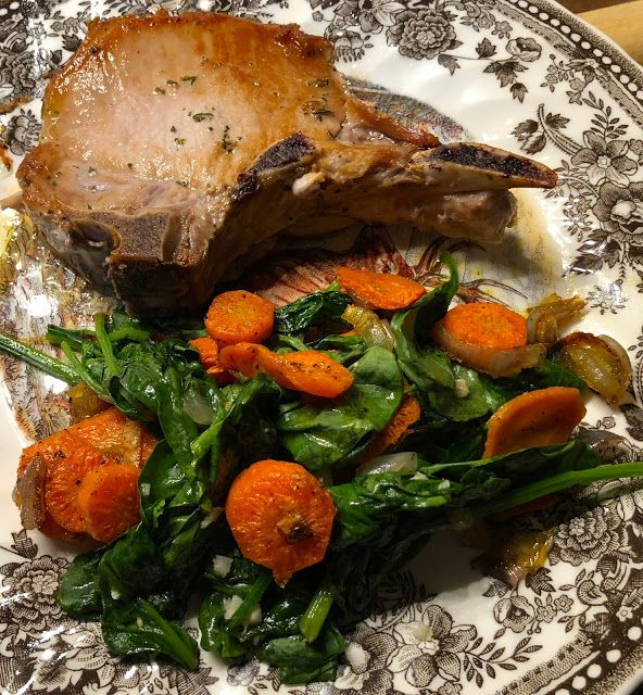 Butter Basted Pork Chop with Roasted Carrots and Spinach #homeChef