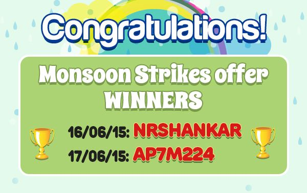 Congratulations to the winners of the Monsoon Strikes offer. Prize Won: Rs.2000 worth flipkart vouchers  Hurry!Don't miss the chance to be a winner at classicrummy.  Know more about the offer @ https://www.classicrummy.com/monsoon-strikes?link_name=CR-12  #rummy #classicrummy #flipkart #winner #flipkartvouchers #vouchers, #onlinerummy