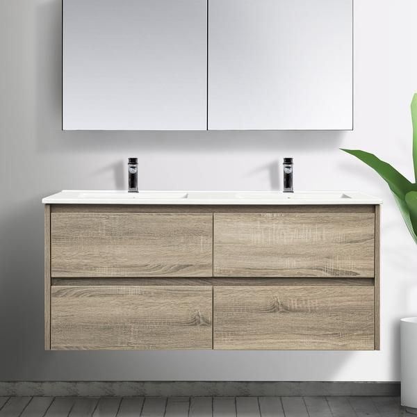 Kris 120cm Oak Timber Doubl Wall Hung Vanity Vanity