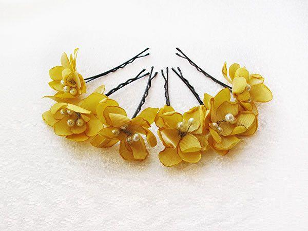 Yellow Flower Hair Clip Flower Wedding Hair Accessories Etsy In 2020 Flower Hair Accessories Wedding Flowers In Hair Flower Hair Accessories