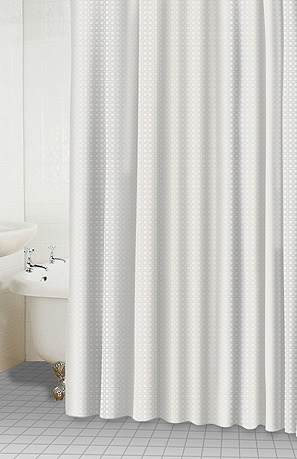 * How to Clean Shower Curtain Place your shower curtain in the washing machine along with two or three white towels. Fill with warm water; add detergent and 1/2 c. baking soda and wash. When it comes to the rinse cycle, add 1 c. white vinegar.