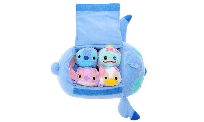 Stitch Tsum Tsum Bag Set includes mini Stitch, Scrump, Angel, and Ugly Duckling Tsum Tsum plushes