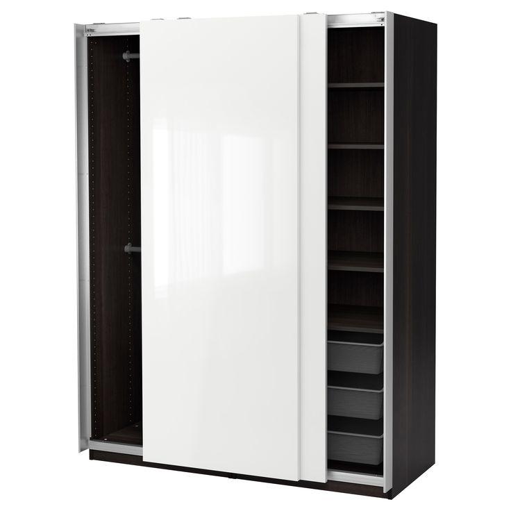 IKEA - PAX Wardrobe black-brown, Hasvik high-gloss/white
