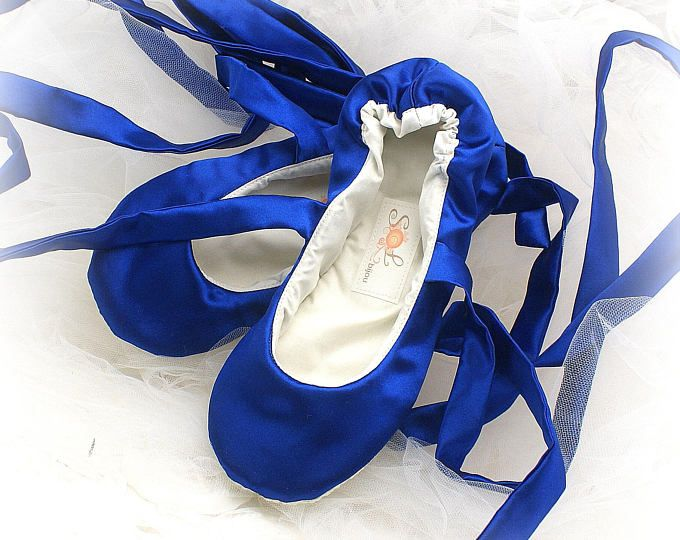 bbd4903bb5f Cobalt Blue Bridal Ballerina Slipper, Royal Blue Bridal Ballet Shoes ...