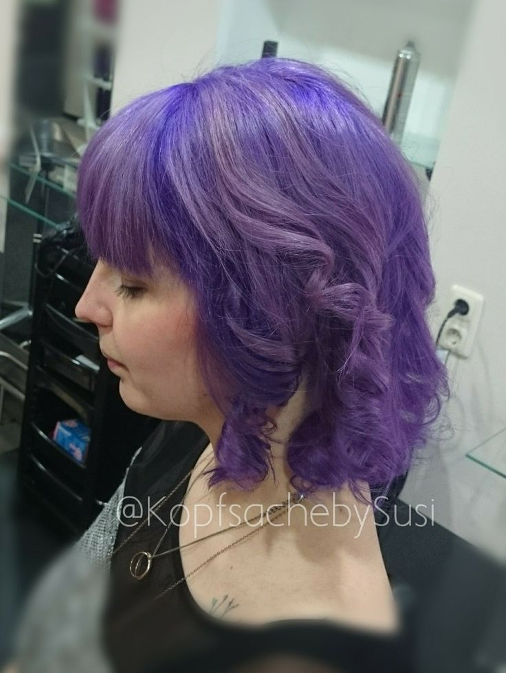 Lilac hair color violett lavender directions pastelhair hairpainting colorful colorstrong longbob wavy bangs kopfsachebysusi stunning