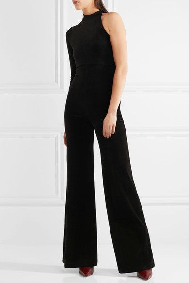 Vetements - Juicy Couture One-shoulder Cotton-blend Velour Jumpsuit - Black - small