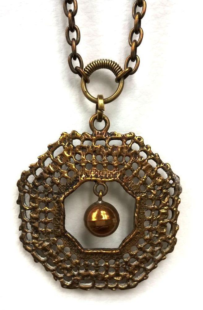 Finland Pentti Sarpaneva - Vintage Bronze Pendant with Chain - Necklace #PenttiSarpaneva #Pendant