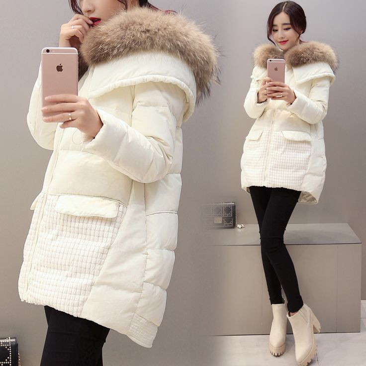 Natural Racoon Hair Hooded Winter Coat 2016 Woman Thicken Warm White Duck Down Jacket Loose Plus Size A-Line Parkas SS855