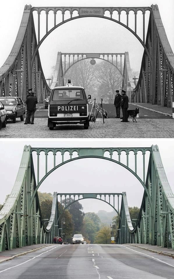 Glienicker Brücke (bridge) in 1988 and 2014. Berlin