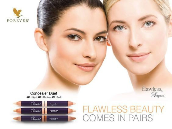Three perfectly paired, aloe inspired concealer shades in easy-to-use, double-ended pencils. https://www.youtube.com/watch?v=bxpXU5GEXMA http://360000339313.fbo.foreverliving.com/page/products/all-products/6-cosmetics/Concealer-Duet/usa/en http://www.flawlessbysonya.com/ Buy it http://istenhozott.flp.com/shop.jsf?language=en ID 360000339313 Need help? http://istenhozott.flp.com/contact.jsf?language=en