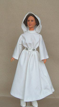 General directions on making Barbie a Princess Leia costume. (no pattern)