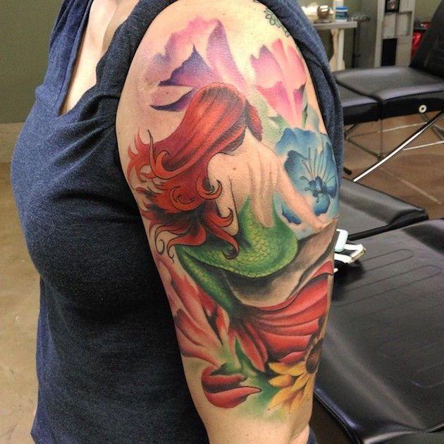 59 breathtaking little mermaid inspired tattoos mermaid for Little mermaid tattoo sleeve