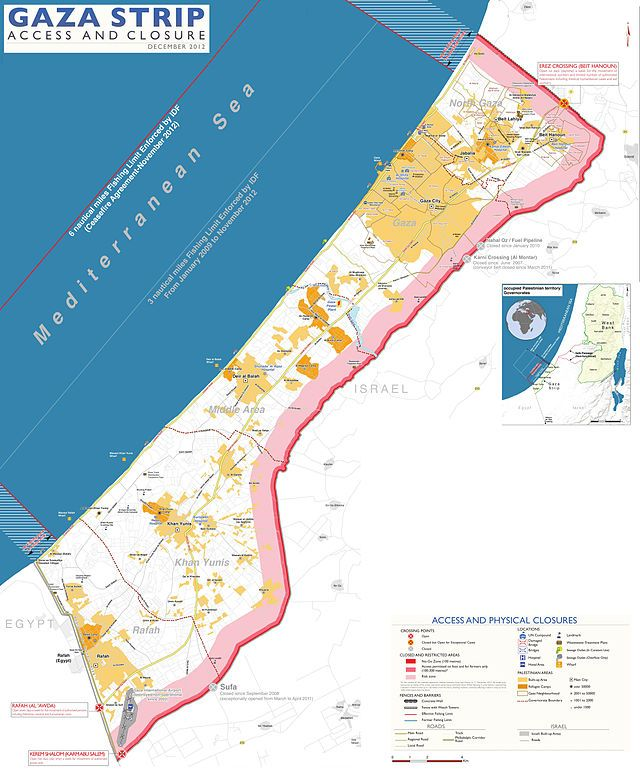 Gaza Strip, with Israeli-controlled borders and limited fishing zone ◆Gaza Strip - Wikipedia http://en.wikipedia.org/wiki/Gaza_Strip #Gaza_Strip