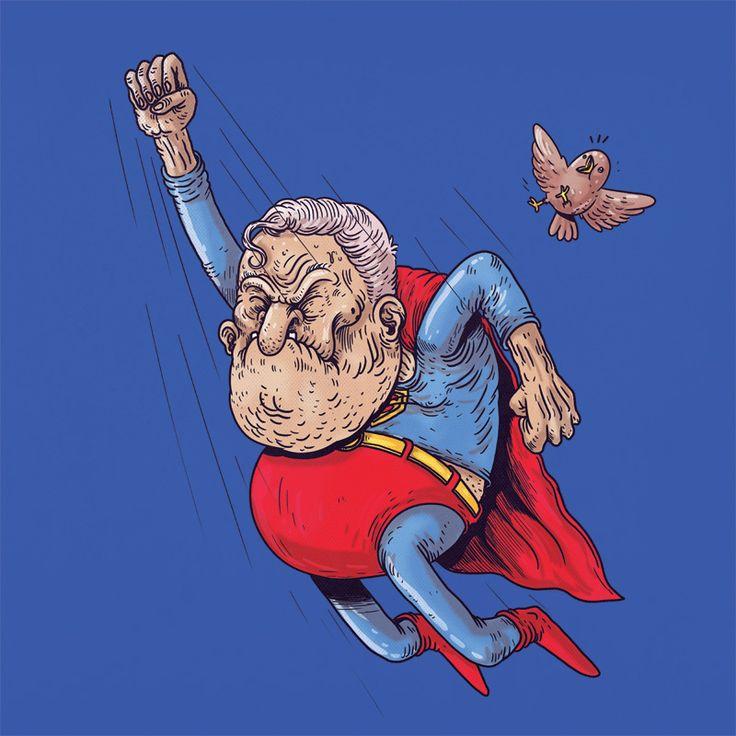 Old Batman.... A series of fantastic reimaginings of superheroes as oldies! Old #Superman