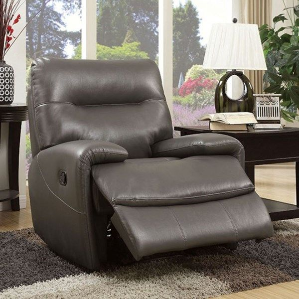Binford Gray Faux Leather Wood Metal Foam Maino Reclining Chair