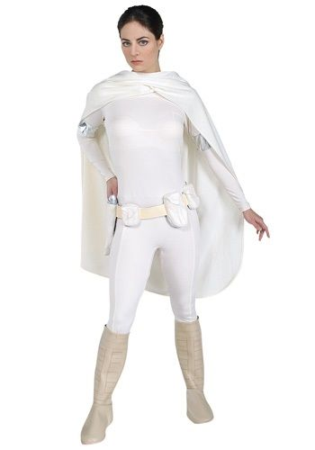 Deluxe Padme Amidala Costume $60 : white jumpsuit, grey boot tops, cape, rubber belt