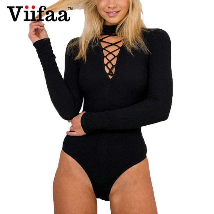 Viifaa Sexy V Neck Knitted Bodysuit Jumpsuit Women Long Sleeve Black Bodycon Rompers One Piece Lace Up Bodysuits