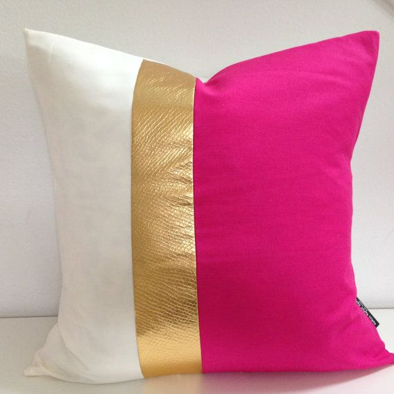"Decorative Throw Pillow Cover 20""x20"" Color Blocked Hot Pink Vintage Fabric Gold Textured Faux Leather, White Linen Modern Glamour on Etsy. She's Happy Design Original."
