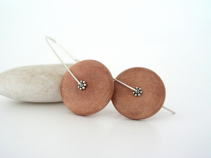 Brown disc clay earrings ceramic faux air dry clay cinnamon contemporary organic style minimal earthly medium long sterling silver