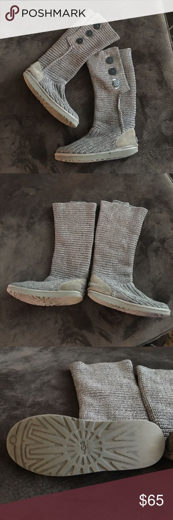 grey ugg knit boots! Ugg knit boots! Asking 65, or make me an offer. Originally 150$. They look a little worn, but still in good condition and comfy! No snags in the boots!                                 Same day shipping! 🌺🌺 UGG Shoes Winter & Rain Boots
