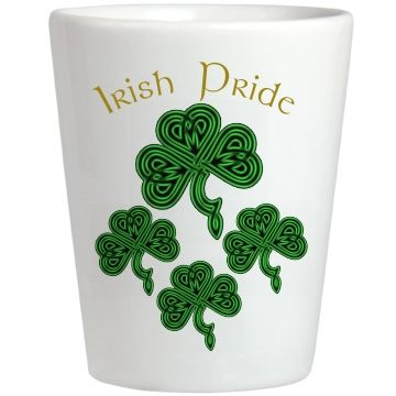 Irish Pride Shamrock Shot Glass | Customize with your own text. BlueRose Creations - CustomizedGirl