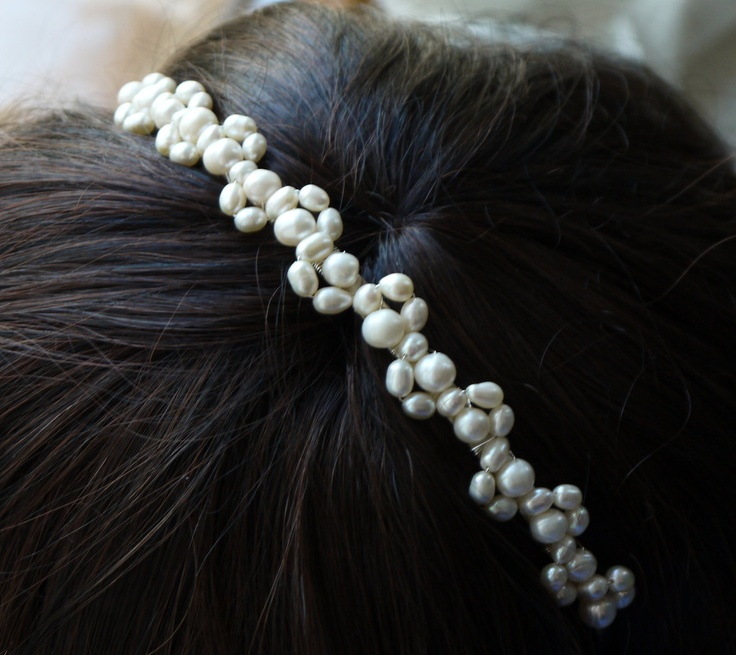 freshwater pearl headband ivory rice and round pearl silver tiara alice band headband lace design for bride, wedding. $35.00, via Etsy.