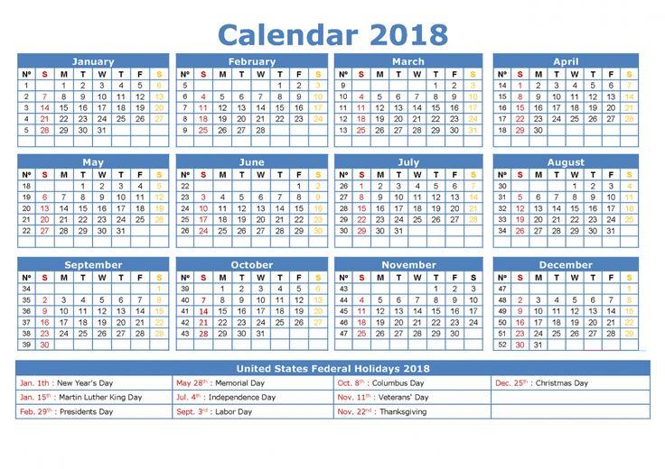 free calendar 2018 yearly   Learning Printable   Calendar ...