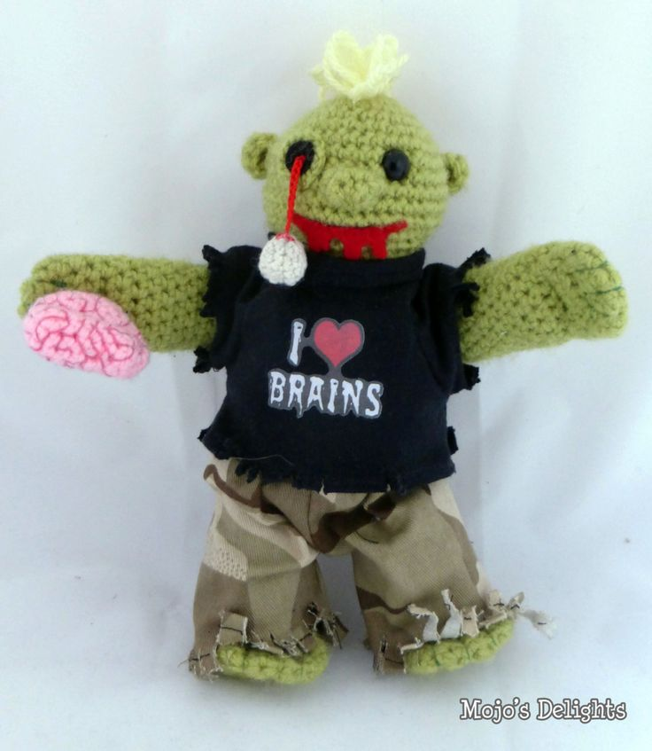 Crocheted Zombie Doll with dismembered brain. by MojosDelights on Etsy