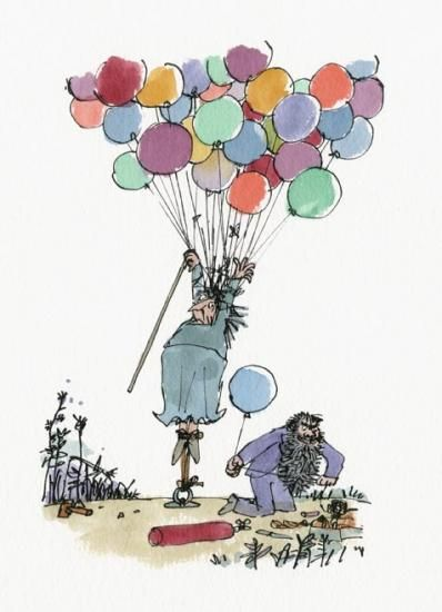 Mrs Twit being stretched from The Twits, by Roald Dahl | Quentin Blake