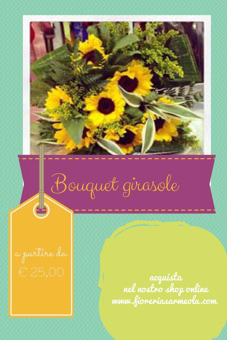 bouquet di #fiori composto da girasoli, in vendita online nel nostro shop con consegna a Padova e provincia - www.fioreriasarmeola.com