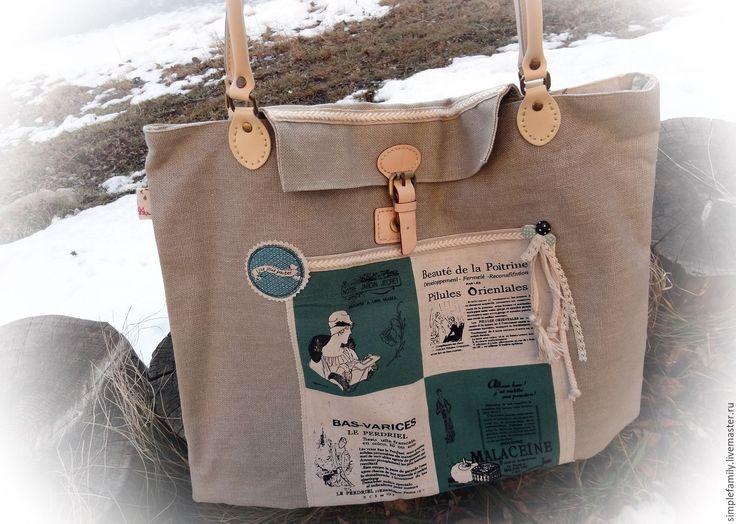 """Купить Текстильная сумка """"Парижская мода"""" - текстильная сумка, сумка из льна, стильная сумка"""