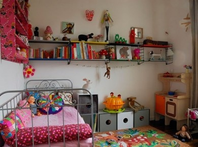 eclectic & colourful - possible new look for the girls' room.