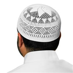 White Swiss Cotton Knitted Kufi Muslim Prayer Mens Skull Cap - 20 inch