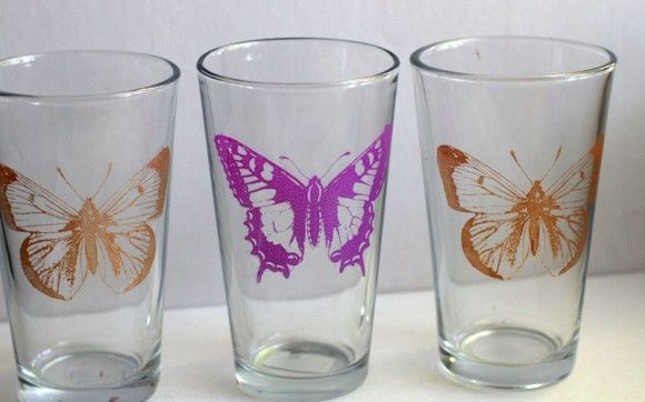 192 best stencils images on pinterest craft painting on for Martha stewart christmas wine glasses