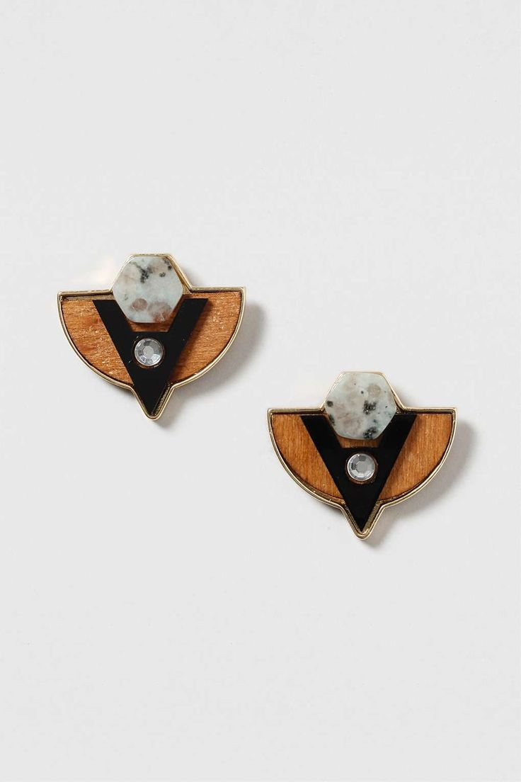 Semi-Precious And Wood Mix Earrings