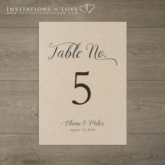 Printable Table Number Custom Digital Table by InvitationsToLove