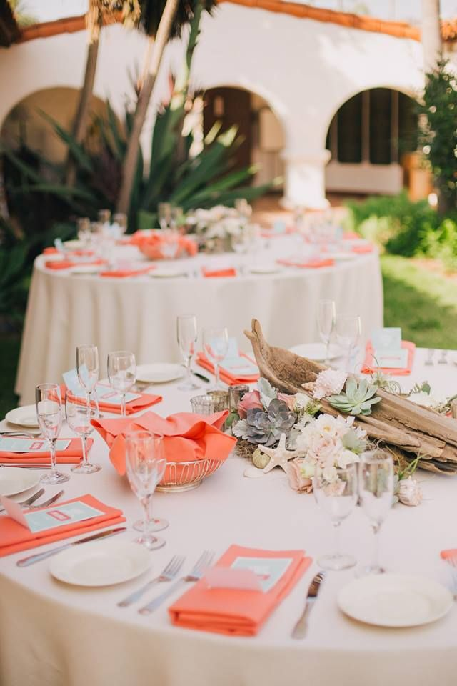 Coral, driftwood, peony, shell, and succulent decor for beach wedding- Kelly Stonelake Photography and design by Going Lovely