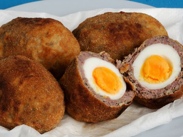 Scotch eggs made with ostrich mince. Click for recipe.