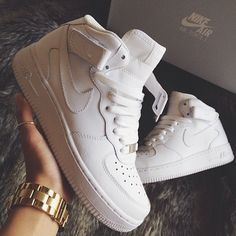 Nike Air Force 1 High Tops AF1 Bad AF Classic White Cocaine Trainers Dope Footwear Curiouserlia