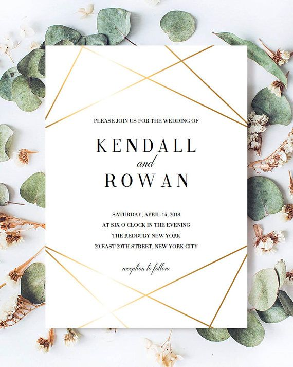 Set the tone for your wedding with this stunning gold wedding invitation. The gold geometric lines look like they are glimmering and give your invitations a sophisticated touch. Be prepared to receive a lot of compliments! A detailed instruction guide with tips & tricks on editing,