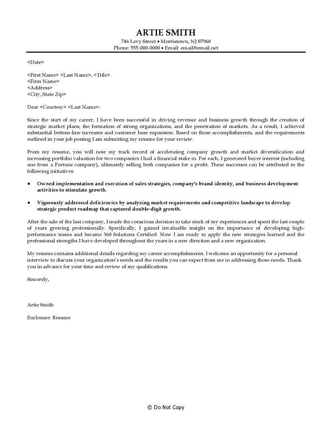 cover letter for business development