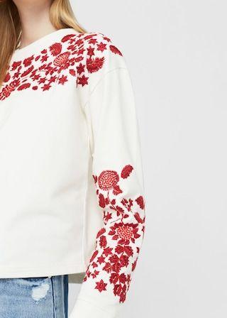 Embroidered cotton sweatshirt | MANGO