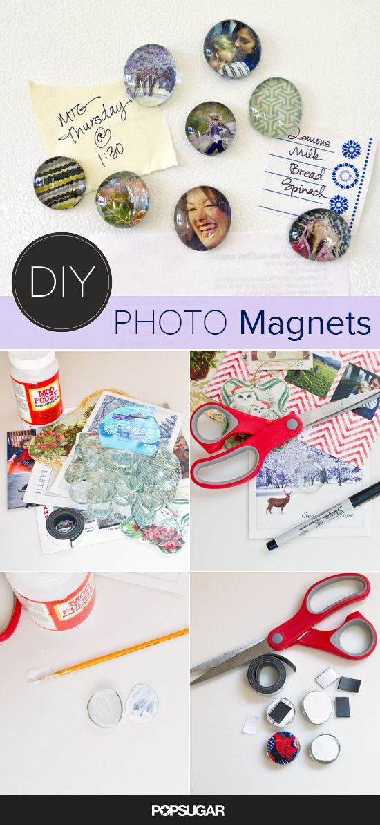 Make these magnets from photos and greeting cards.